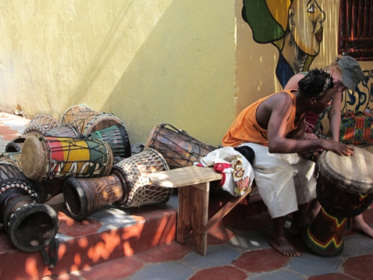 drums resting in the shade in Conakry