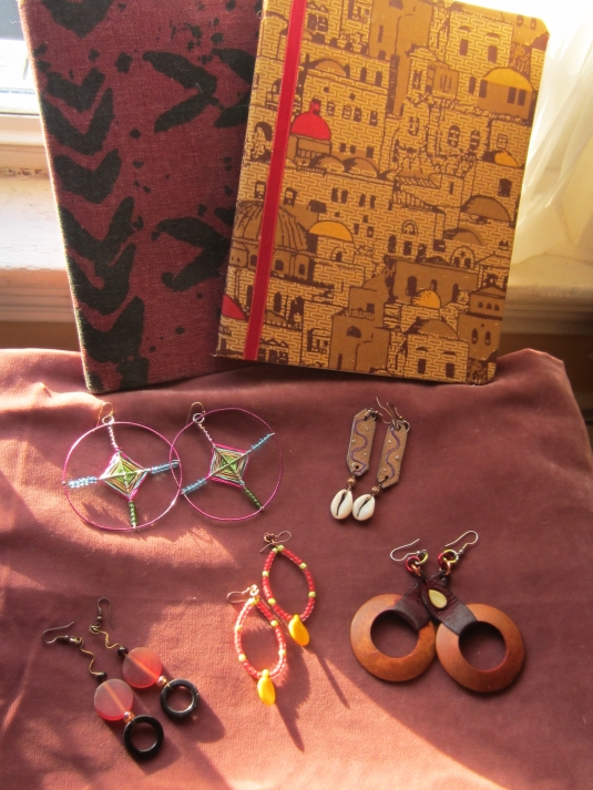 Alison Green-Parson's beautiful hand made earrings and cloth covered journals.