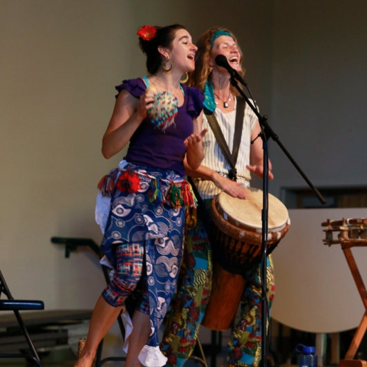 Marita Kennedy-Castro & Annegret Baier perform for schools in Southern Maine. Photos by Danielle Peterson